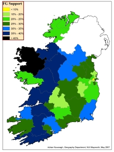 Fine Gael support by constituency in 2007 General Election