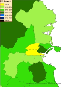 Fine Gael support in Dublin constituencies, 2007