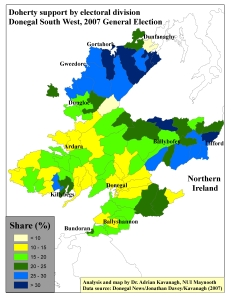 Pearse Doherty support by ED in Donegal South West, 2007 General Election