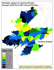 Support for Dinny McGinley by ED in Donegal South West, 2007 General Election (based on tally figure analyses)