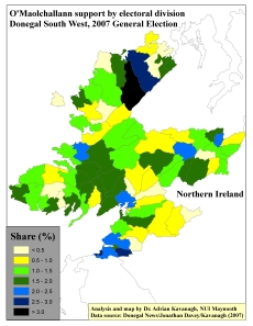 Support for Sean O'Maolchallann (GP) by ED in Donegal South West, 2007 General Election (based on tally figure analyses)