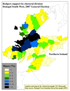 Support for Seamus Rodgers (LB) by ED in Donegal South West, 2007 General Election (based on tally figure analyses)