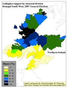 "Support for Pat ""The Cope"" Gallagher by ED in Donegal South West, 2007 General Election (based on tally figure analyses)"