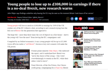 London Independent online article, available here: https://www.independent.co.uk/news/uk/politics/brexit-latest-young-people-no-deal-lose-earnings-john-major-eu-a8601666.html